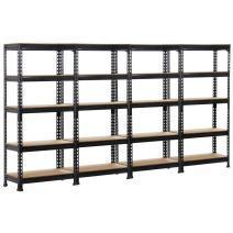 Yaheetech Black Steel Boltless Rivet Rack,5 Adjustable Shelves,59.1inch Height,4 Pack