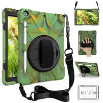 ZenRich New iPad 10.2 Case 2019, iPad 7th Generation Case with Pencil Holder, Rotatable Kickstand, Hand Strap and Shoulder Strap, Shockproof Case for iPad 10.2 inch A2197/A2198/A2199/A2200-Camouflage