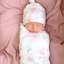 Giggle Angel Baby Girl Receiving Blanket Newborn Swaddle Blanket Photo Props Floral Printed White with Beanie