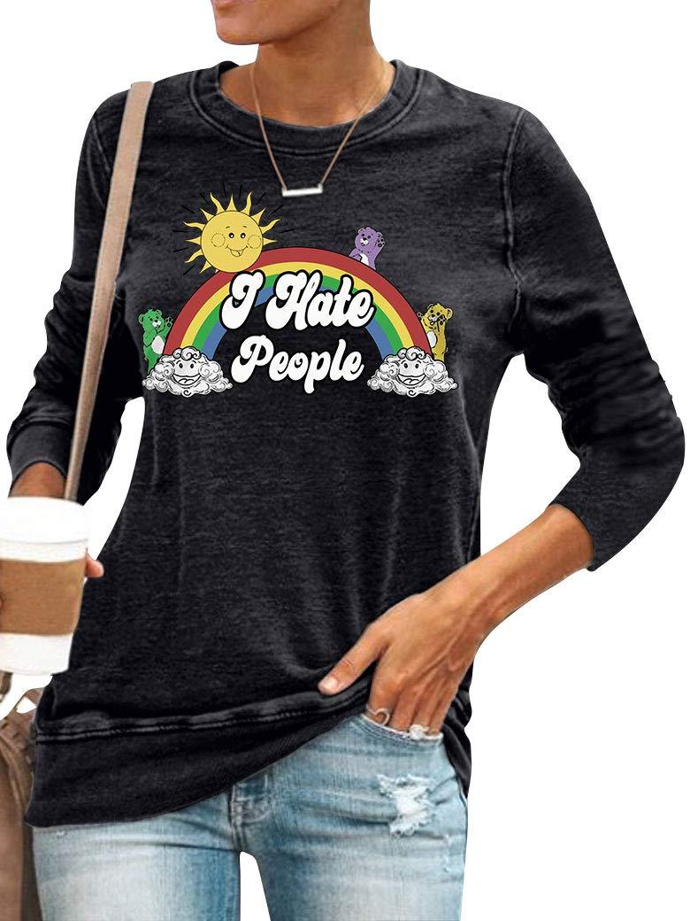 Dresswel I Hate People Sweatshirts Women Letter Rainbow Printed Crew Neck Graphic Tops