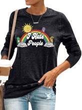 Dresswel I Hate People Sweatshirts Women Letter Rainbow Printed Crew Neck Graphic Tops