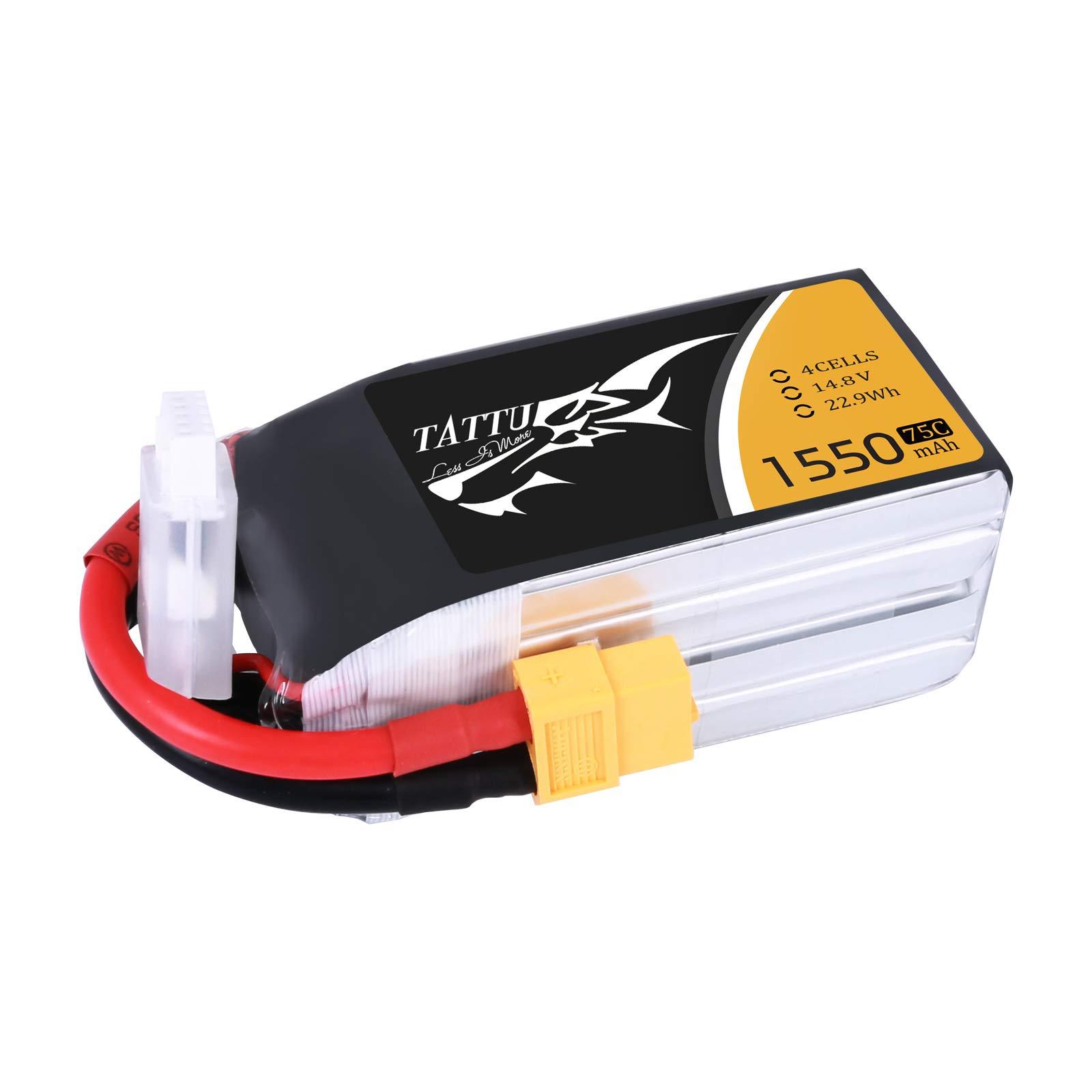Tattu LiPo Battery Pack 1550mAh 75C 4S 14.8V with XT60 Plug for RC Boat Heli Airplane UAV Drone FPV