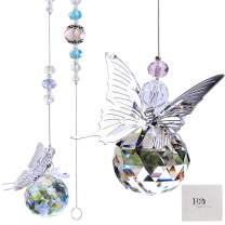 H&D HYALINE & DORA 30mm Handmade Butterfly Crystal Ball Prism Rainbow Maker Hanging Suncatcher Home Decoration