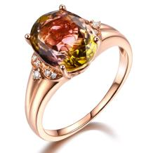 Unique Genuine Multi Colour Tourmaline Gemstone Solid 14k Rose Gold and Diamond Engagement Wedding Band Ring