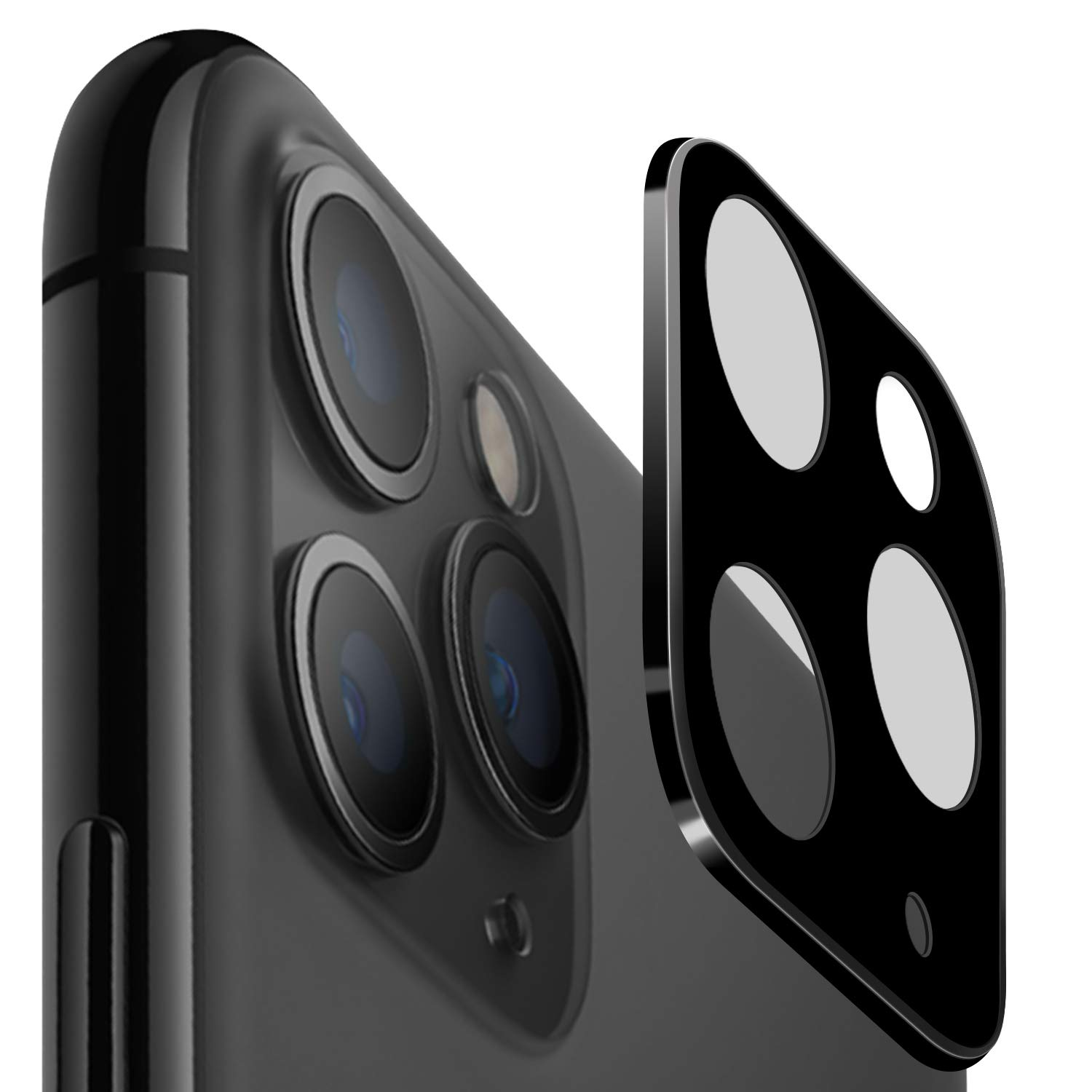 [2 Pack] Camera Screen Protector for iPhone 11 Pro / 11 Pro Max 5.8/6.5 Inch (2019), 0.3MM Thin Organic Tempered Glass Camera Lens Protector for iPhone 11 Pro Max (Black)