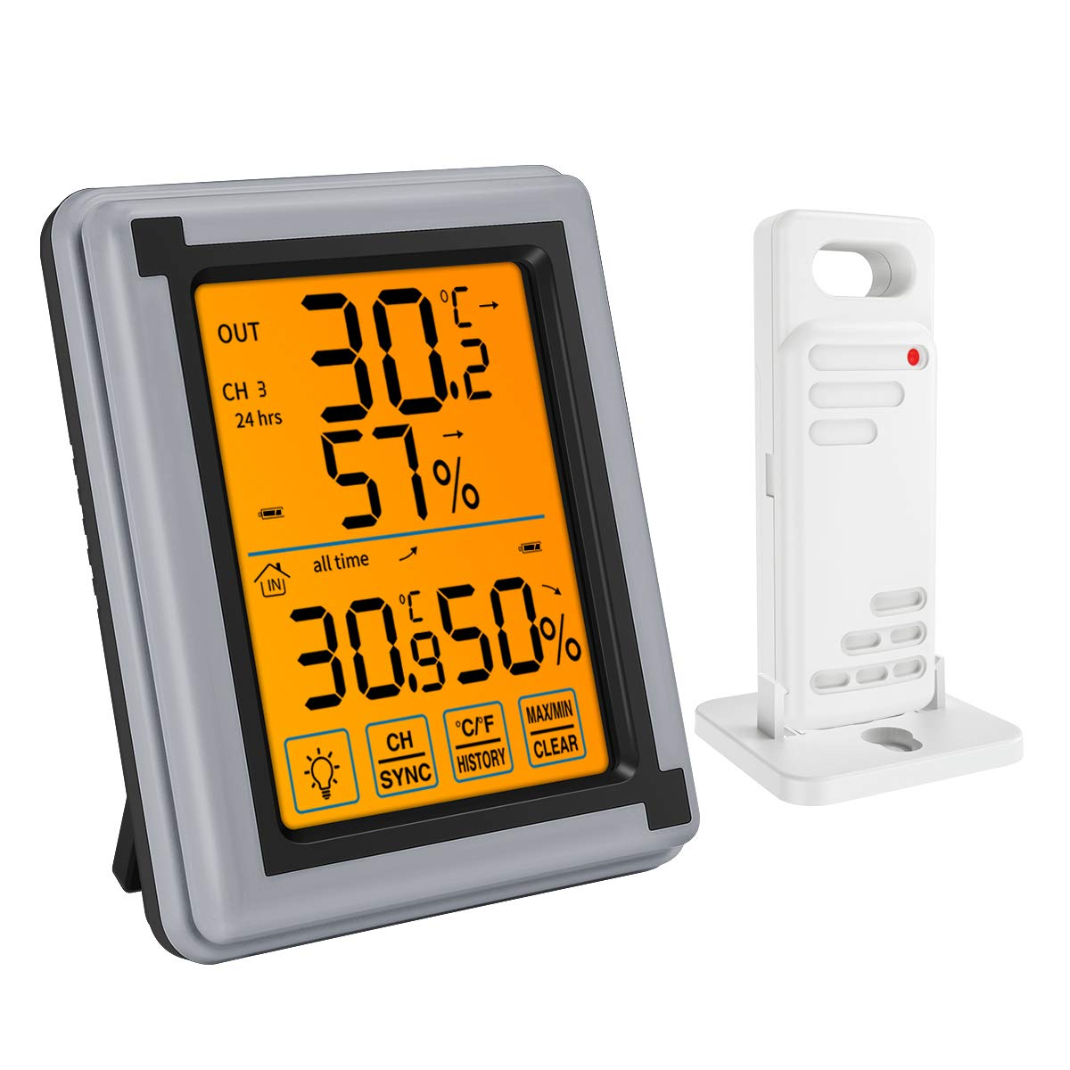 KeeKit [New Version Indoor Outdoor Thermometer, Wireless Temperature Humidity Monitor, Digital Hygrometer Gauge Meter with Touch LCD Backlight, MAX/MIN Record for Home, Office, Baby Room - Gray