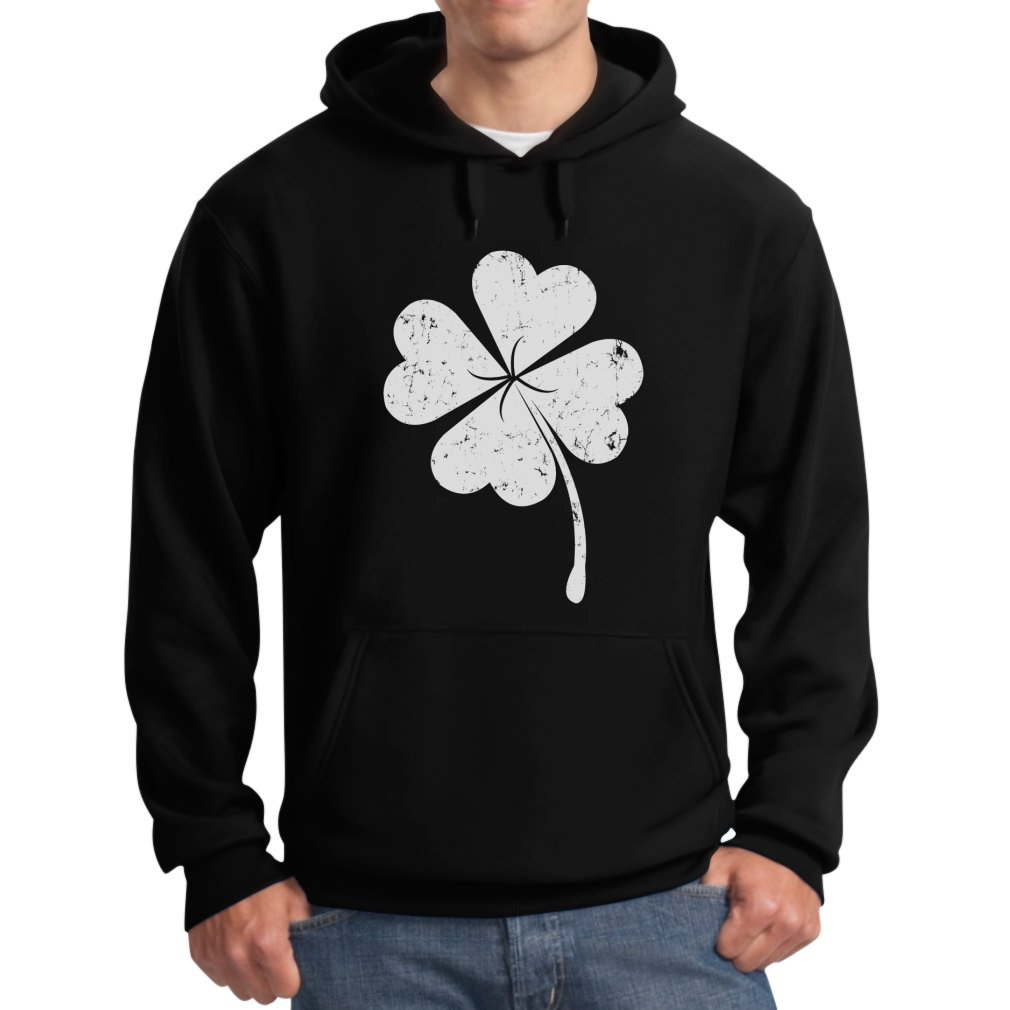 Lucky Charm Men's Faded Shamrock Clover St. Patrick's Day Hoodie