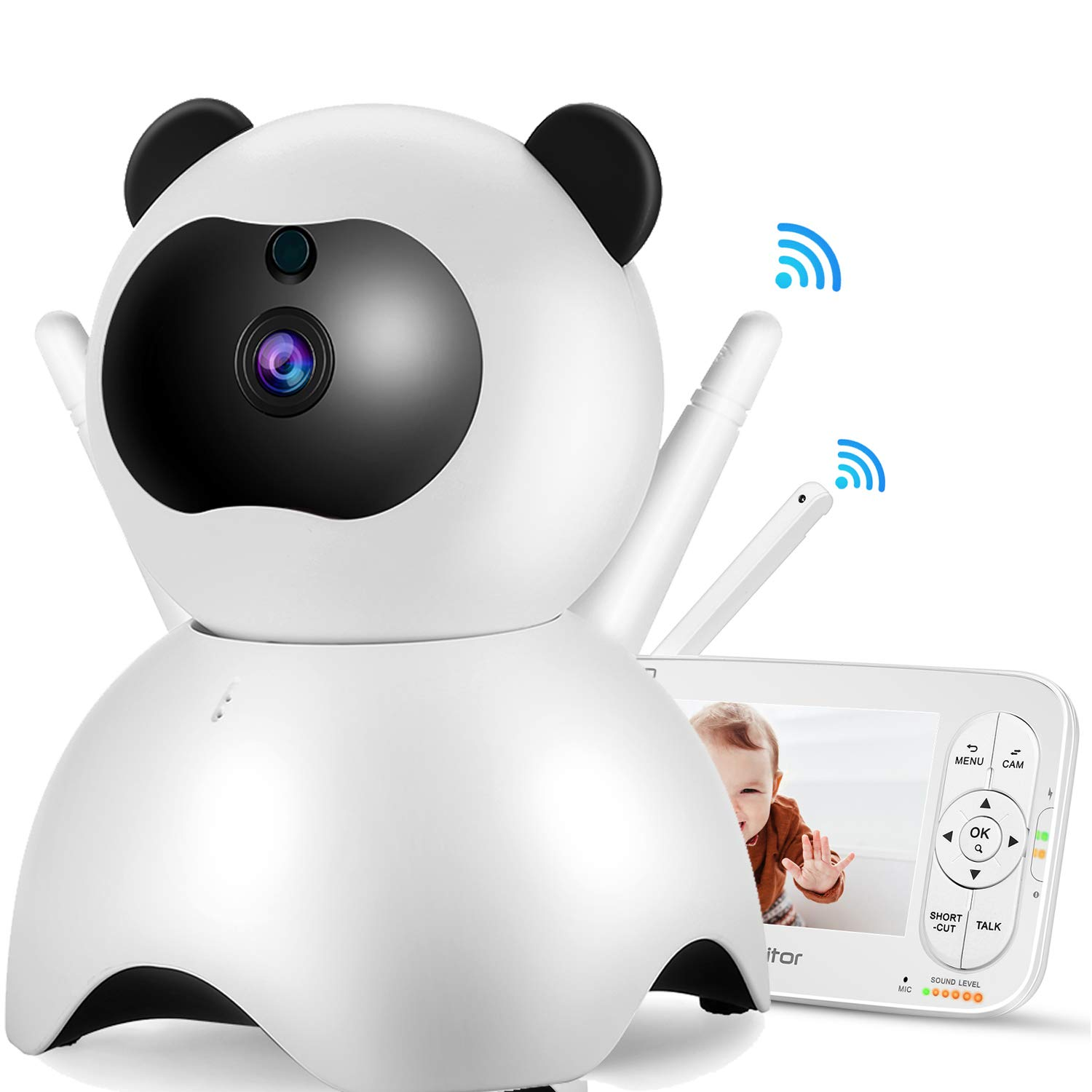 Video Baby Monitor with Camera and Audio - 720P, IR Night Vision, Two-Way Talk, Temperature Monitor, Lullabies, White