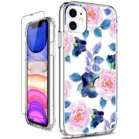 GiiKa iPhone 11 Case with Screen Protector, Clear Heavy Duty Protective Case Floral Girls Women Shockproof Hard PC Back Case with Slim TPU Bumper Cover Phone Case for iPhone 11, Pink Blue Flowers