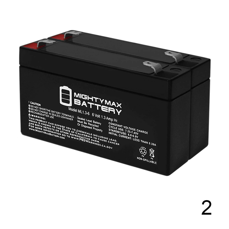 Mighty Max Battery ML1.3-6 6V 1.3AH SLA Battery F1 Terminal (2 Pack)
