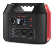 Portable Power Station, Meterk 300W Solar Generator, Lithium Battery Emergency Power Station with 2 AC Outlet 2 DC 3 USB Ports, Power Supply with Flashlight for Outdoor Adventure Camping Travel