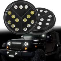 HOZAN Jeep Wrangler Headlights Pair 80W 7inch Round Arrow Angle Eye Style LED Headlight With High Low Beam Headlamp For Jeep Wrangler 97-17 JKU TJ JK CJ
