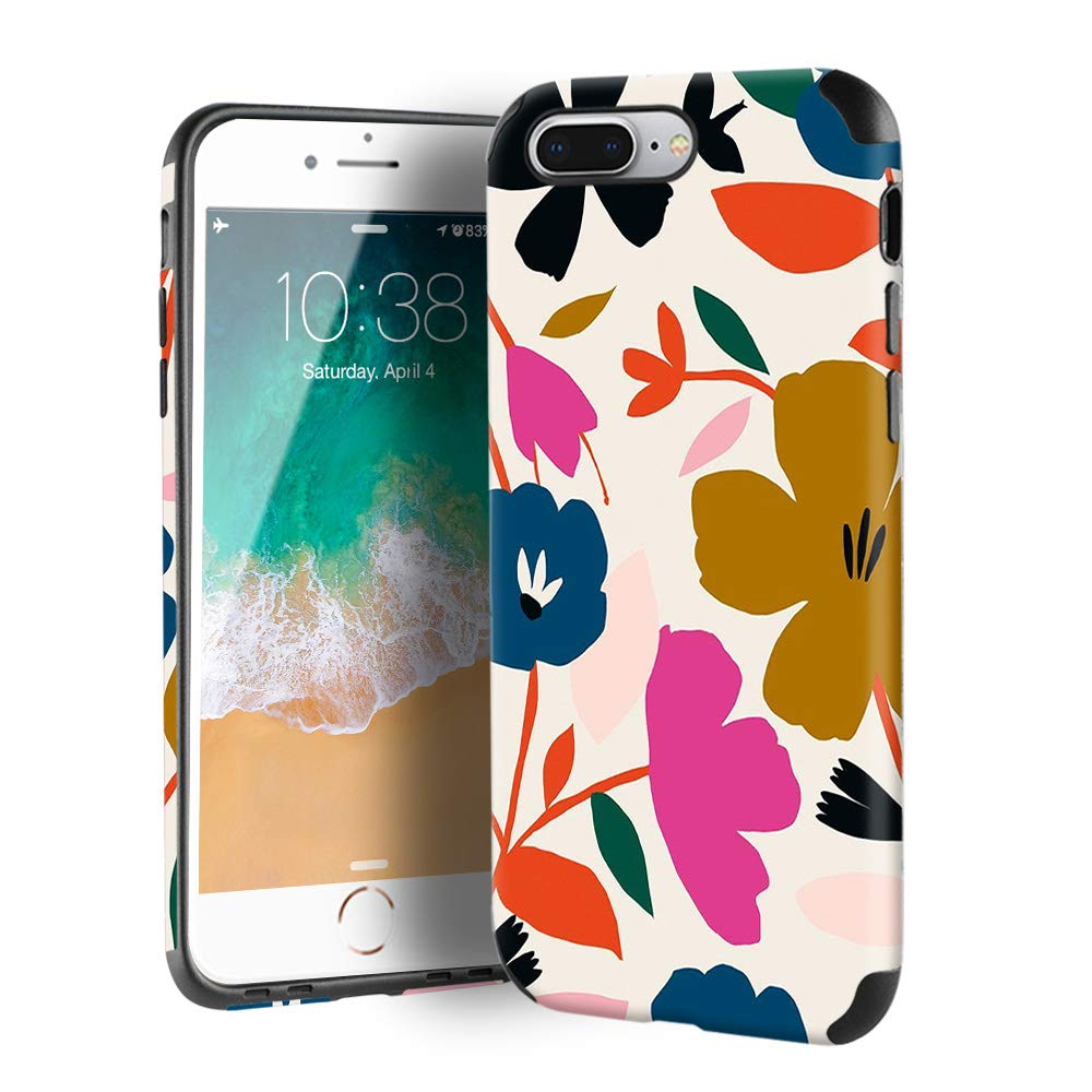 CUSTYPE iPhone 7 Plus Case, iPhone 8 Plus Case for Girls & Women, Floral Series Painted Flower Pattern Design PC Leather with TPU Bumper Slim Protective Cover for iPhone 8 Plus/ 7 Plus 5.5''