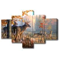 DXYJUYI Brown 5 Panel Wall Art Painting Deer in Autumn Forest Pictures Prints On Canvas Animal The Picture Decor Oil for Home Modern Decoration Print Framed Ready to Hang