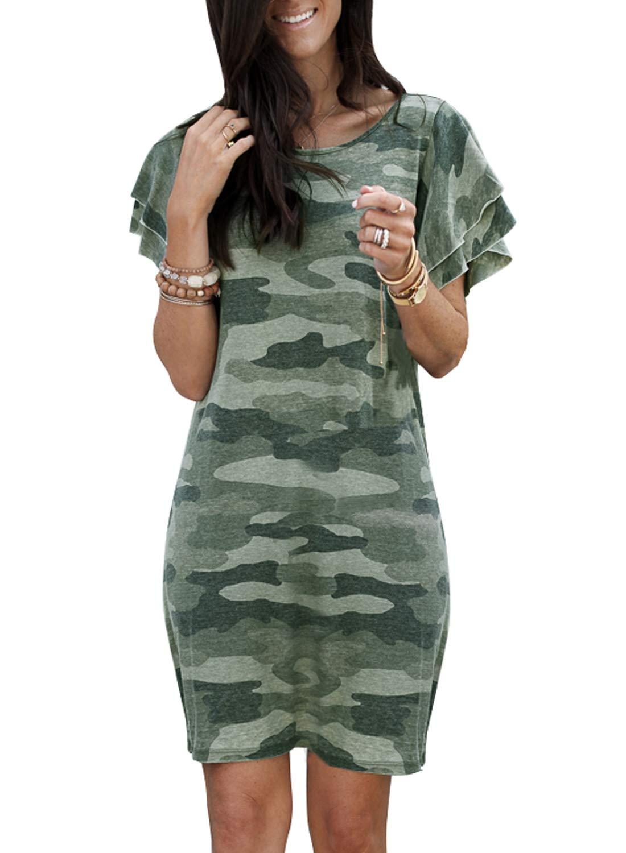 Lovezesent Womens Casual Summer Ruffled Short Sleeve Camo Tee Shirt Mini Dresses