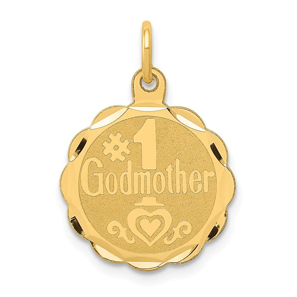 14k Yellow Gold #1 Godmother Pendant Charm Necklace Special Person Engravable Disc Round God Fine Jewelry For Women Gifts For Her