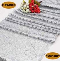 Poise3EHome 2 Pieces Wedding Sequin Table Runner Glitz 12x108 inches, Silver
