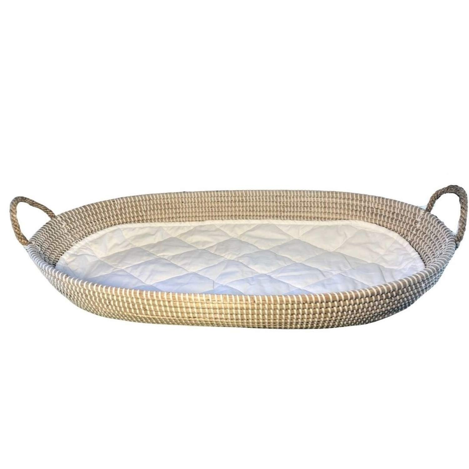 Baby Changing Basket W Quilted Liner Cpsc Safety Certified Diaper Changing Table Pad Alternative Large Seagrass Basket Baby Dresser Topper