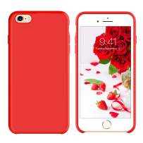 GUAGUA iPhone 6 Plus Case iPhone 6S Plus Case Liquid Silicone Gel Rubber Cover with Soft Microfiber Cloth Lining Cushion Case Slim Fit Shockproof Protective Phone Cases for iPhone 6 Plus/6S Plus Red