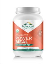 Power Meal Plus Matcha Protein Powder Meal Replacement by balanced greens, Organic, Raw, All-in-one Nutritional Vegan Shake, Gluten Free Vanilla - 12 Servings