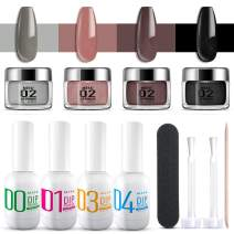 MEFA Dipping Powder Starter Kit 4 Colors for Beginners Dipping Powder System Starter Kit Acrylic Dipping System for French Nail Manicure Nail Art Set Essential Kit