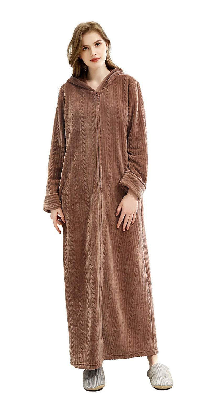 Soojun Women's Plush Soft Warm Hooded Zip Front Robes