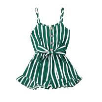 Madjtlqy Toddler Kids Girls Summer Jumpsuit Romper Ruffle Sleeveless Overall Striped Chiffon Clothes for Baby Girl 1-8T