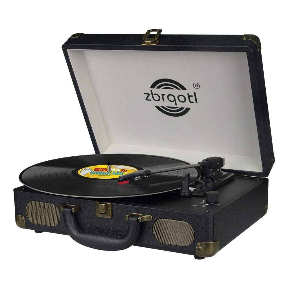 Vinyl Record Player - Vintage Suitcase Turntable 3 Speed for 7〞10〞12〞 LP Bluetooth 2 Stereo Speakers 9V 1.5A DC in Standard RCA Headphone Outputs,Black (Black) (Black)