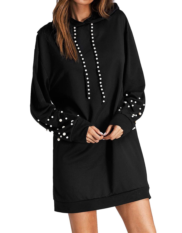 Milumia Women's Casual Loose Long Sleeve Hoodie Pullover Sweatshirt Dress Black-2 XL