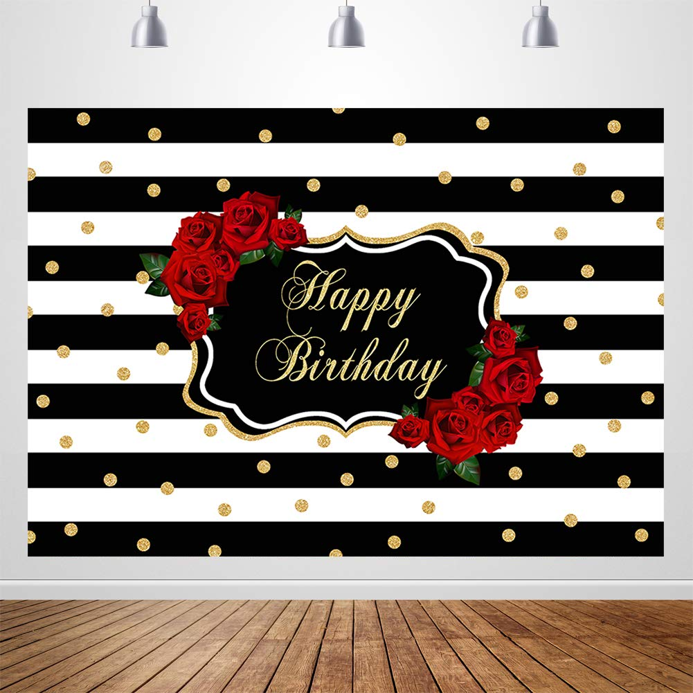 Sensfun Red Rose Happy Birthday Backdrop Black White Stripes Gold Dots Photography Background 7x5ft Silk Roses Floral Women Fabulous Birthday Party Banner Backdrops