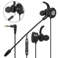 Insten 3.5mm Gaming Earbuds with Mic Audio, In-Ear Headset Stereo Headphone with Detachable Dual Microphone Compatible with PS4, Nintendo Switch Lite, PC Mobile Game & Cell Phone Laptop Tablet - Black