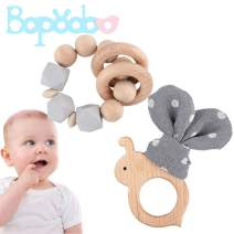 bopoobo Wood Teethers for Babies 100% Safe Natural Wooden Teething Rings Gifts Cute Bee Bunny Ear Silicone Bracelet Gray 2pc Relieve Teething Pain Set