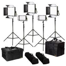 Ikan Lyra (5X) Bi-Color 3200K-50600K Soft Panel (2) 1 x Half (3) 1 x 1 Studio & Field LED Lighting Kit, Includes Barn Doors, Stands and Case, Bi-Color Adjustable (LB-3F2H) - Black