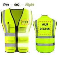 YOWESHOP High Visibility Reflective Safety Vest Customize Logo with 5 Pockets Protective Workwear Outdoor Work Vest (S, Neon Yellow)