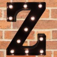 Pooqla Decorative LED Illuminated Letter Marquee Sign - Alphabet Marquee Letters with Lights for Wedding Birthday Party Christmas Night Light Lamp Home Bar Decoration Z, Black