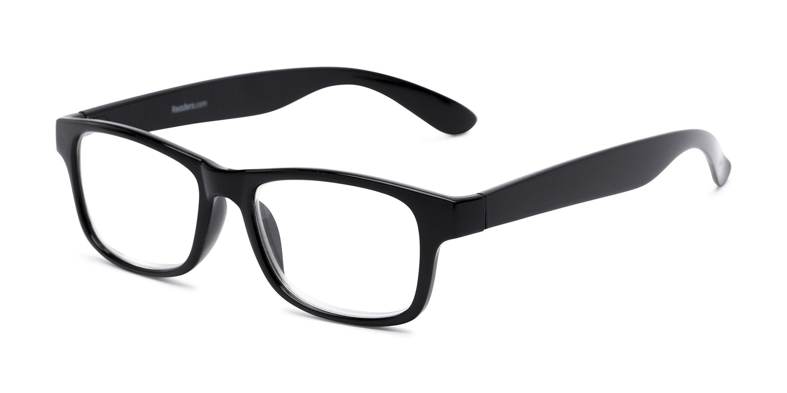 Readers.com Reading Glasses: The Buchanon Reader, Plastic Retro Square Style for Men and Women