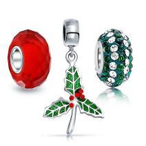 Christmas Mistletoe Red Green Crystal Mix Set Of 3 Silver Spacer Dangle Bead Fits European Charm Bracelet For Women