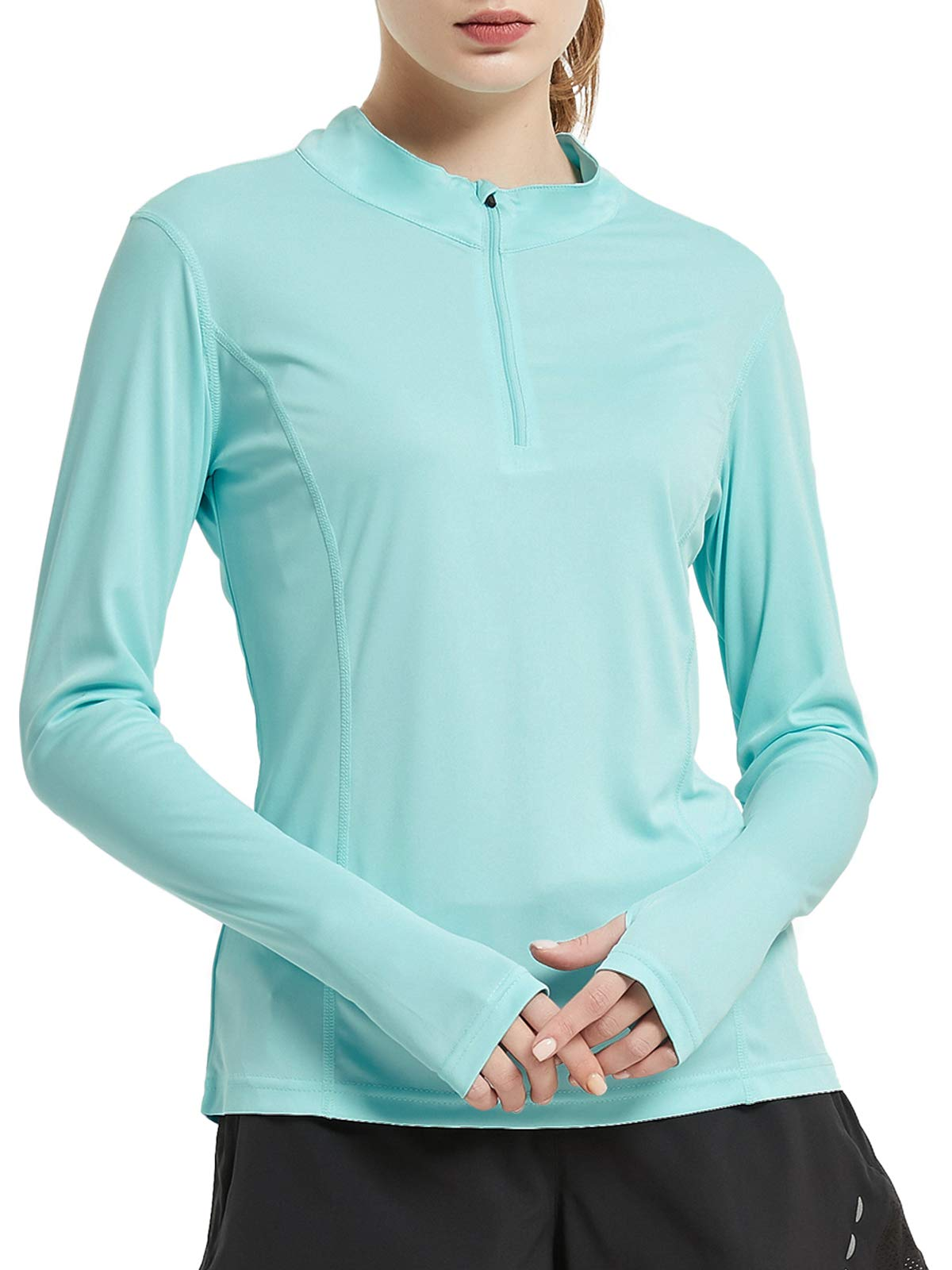 MIER Women's Quarter Zipper UV Athletic Shirts Long Sleeve Sun Protection Running Top with Thumb Hold Outdoor Workout Dry-fit