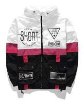 AITFINEISM Men's Lightweight Windbreaker Casual Color Block Jacket with Hooded