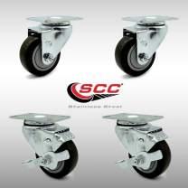 "Service Caster – 3.5"" Black Polyurethane Wheel – 2 Stainless Steel Swivel and 2 Stainless Steel Swivel Casters w/Brakes"