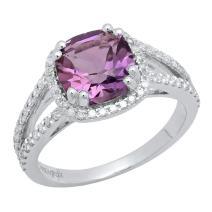 Dazzlingrock Collection 14K 8 MM Cushion Gemstone & Round Diamond Ladies Halo Engagement Ring, White Gold