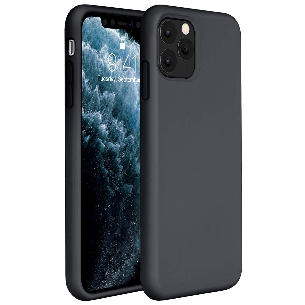 Miracase Liquid Silicone Case Compatible with iPhone 11 Pro 5.8 inch(2019), Gel Rubber Full Body Protection Shockproof Cover Case Drop Protection Case(Black)