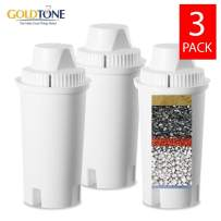 GOLDTONE 7 Stage Alkaline Water Filter Replacement fits Wamery, Wellblue & Brita Water Pitchers. Replaces your Brita Alkaline Water Filter. Ionize,Purify,Reduce Chloride,hard metals, increase pH-3Pack