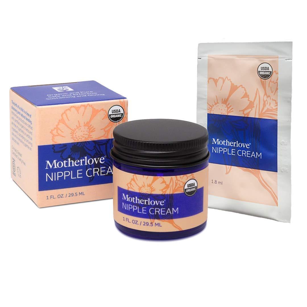 Motherlove Nipple Cream (1oz+ Bonus) Organic Lanolin-Free Herbal Salve - Soothe Sore Nursing Nipples, Moisturize Dry Skin, Pump Lubricant – Unscented Ointment, No Need to Remove Prior to Breastfeeding