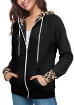 ETCYY NEW Women Leopard Print Jacket Hoodies Coat Rainbow Sweatshirt Zip Up Cardigan with Pocket Outwear
