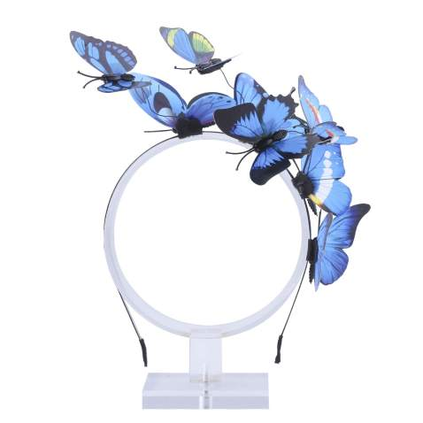 AWAYTR Girl Butterfly Fancy Fairy Headband Boho Chic Fabric Art Costume Party Tiara Crown Prop Hair Band Hoop Headband (Navy Blue-1)