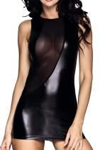 XSPICE Women Wet Look Clubwear Faux Leather Tight Mini Bodycon Dress