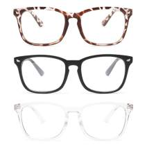 Gaoye 3-Pack Reading Glasses Blue Light Blocking Computer Readers Anti UV Ray Fashion Square Nerd Eyeglasses Frames Women Men