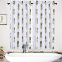 """NANAN Tier Curtains,Pineapple Decor Rod Pocket Tailored Short Curtains for Bathroom Waterproof Window Covering Kitchen Cafe Curtains (30"""" x 45"""",Green YellowPineapple, Two Panels)"""