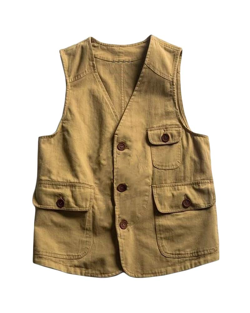 Makkrom Mens Casual Safari Travel Vest Button Down Lightweight Solid Outdoor Fishing Sleeveless Jacket